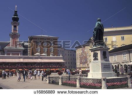 Stock Photograph of Salzburg, Austria, Statue of Mozart in.