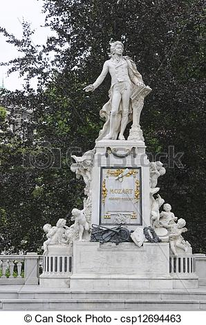 Stock Image of Mozart Monument in Maria Theresien square, Vienna.