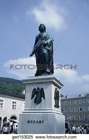 Stock Image of Low angle view of a statue, Mozart Statue, Salzburg.