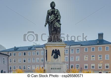Picture of Mozart statue on Mozart Square (Mozartplatz) in.