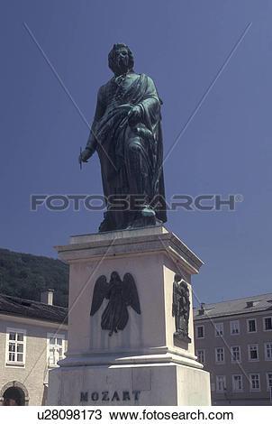 Stock Photo of Mozart, Austria, Salzburg, Statue of Mozart in.
