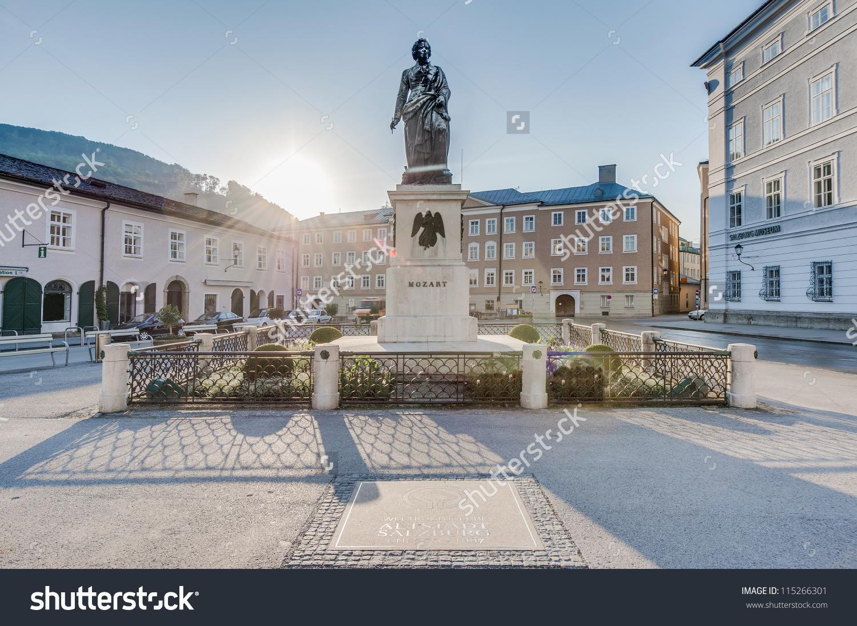 Mozart Statue On Mozart Square Mozartplatz Stock Photo 115266301.