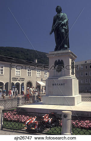Picture of Mozart, Salzburg, Austria, Statue of Mozart in.