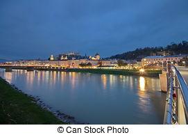 Stock Images of Mozartsteg walking bridge in Salzburg, Austria.