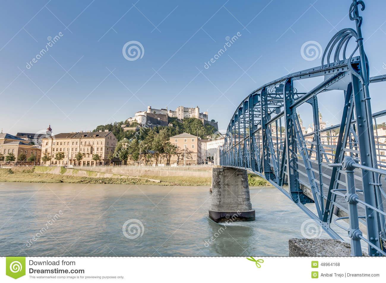 Mozart Bridge (Mozartsteg) And Salzach River At Salzburg, Austri.
