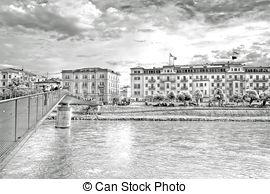 Stock Photography of Mozartsteg walking bridge in Salzburg.