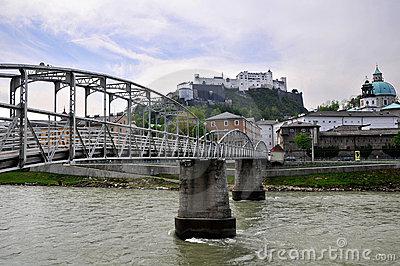 Mozart Bridge (Mozartsteg) And Salzach River In Salzburg, Austri.