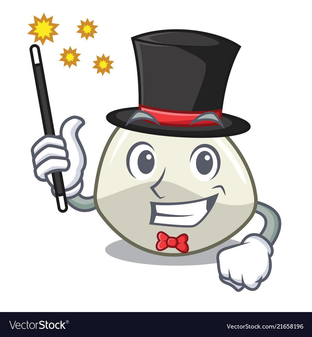 Magician mozzarella cheese isolated on mascot.