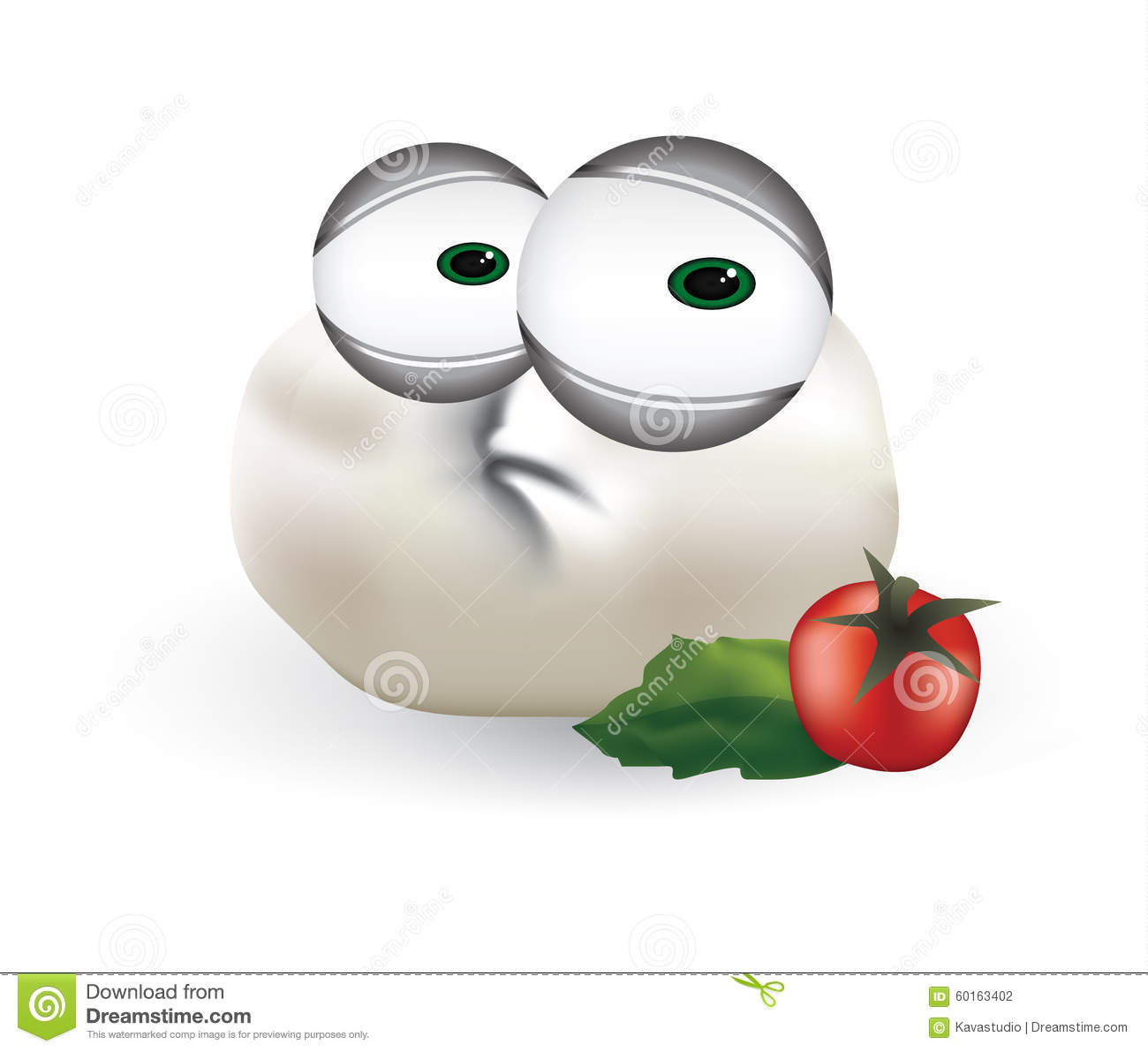 Sad Mozzarella Cheese, Disappointed Dairy Cartoon Character.