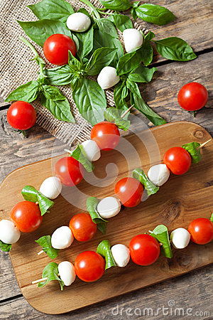 Tomato And Mozzarella Caprese Skewers Stock Photo.