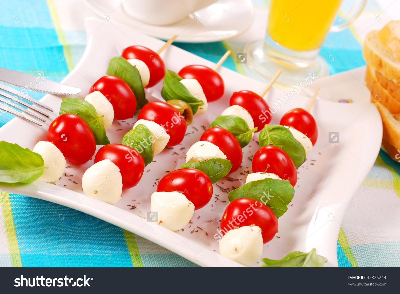 Shashlik Mozzarella Ballscherry Tomatoes Olives Stock Photo.