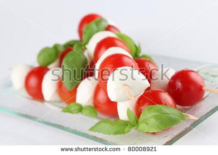 Caprese Salad. Cherry Tomatoes And Mozzarella On Skewers.