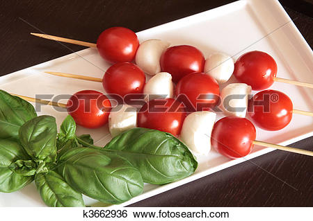 Stock Images of Cherry tomatoes and mozzarella on skewers k3662936.