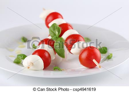 Stock Photographs of Caprese salad.