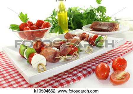 Stock Photo of mozzarella skewers k10594662.