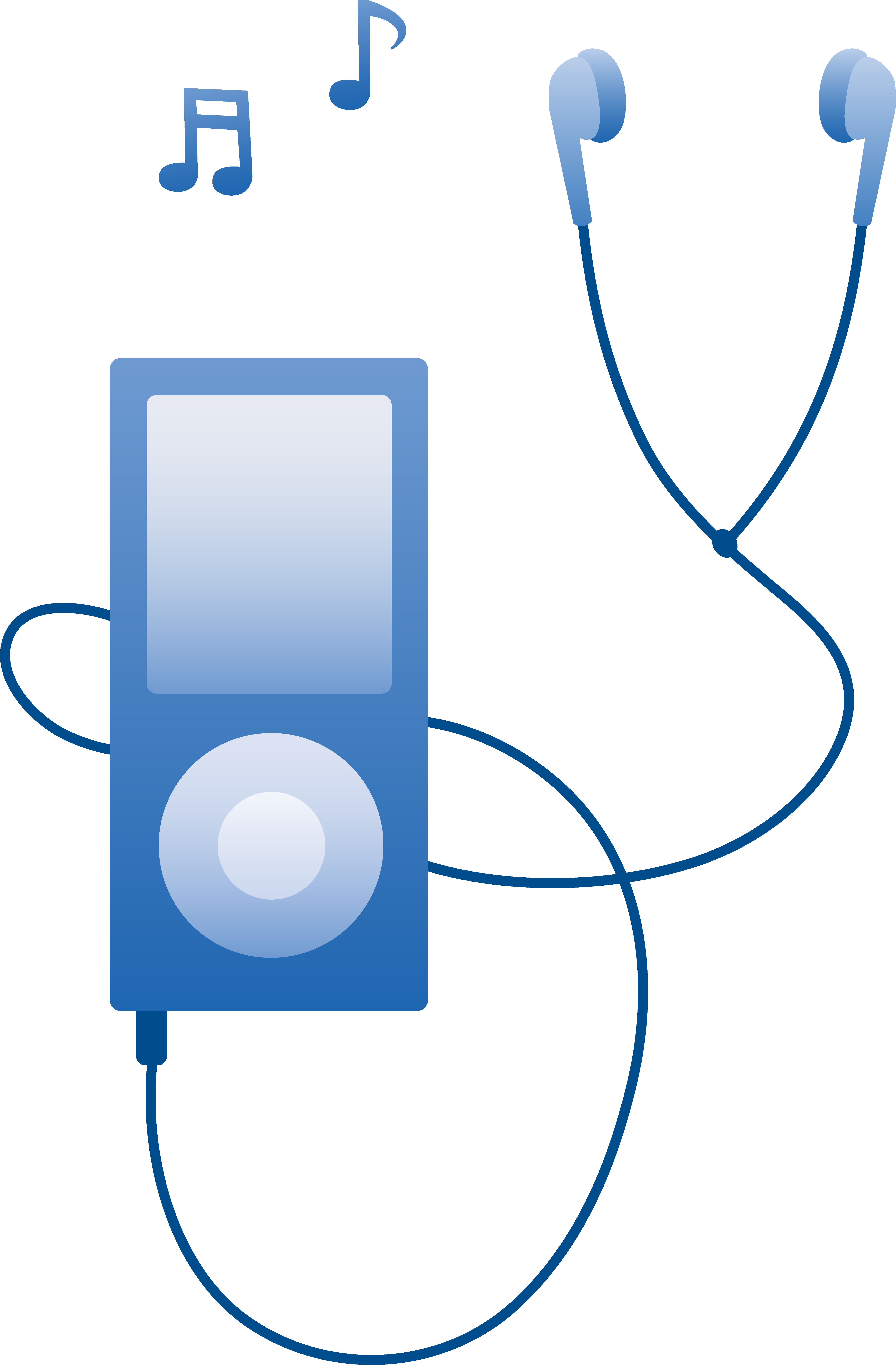 Blue MP3 Player Playing Music.