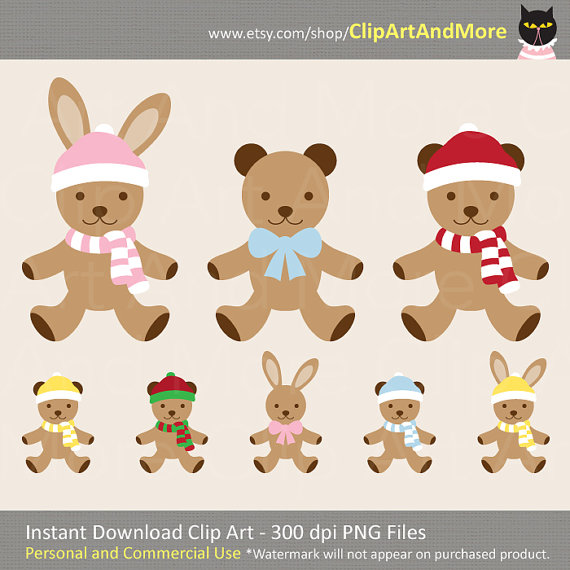 Teddy Bear Bunny Rabbit Clipart Clip Art by ClipArtAndMore on Etsy.