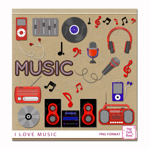 Digital Clipart.I love music. Radios album mpg by Digicraftstudio.