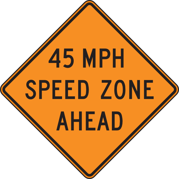 45 Orange Mph Speed Zone Ahead Clip Art at Clker.com.