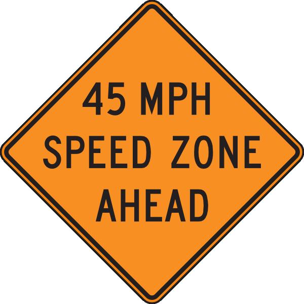 45 Orange Mph Speed Zone Ahead Clip Art at Clker.com.
