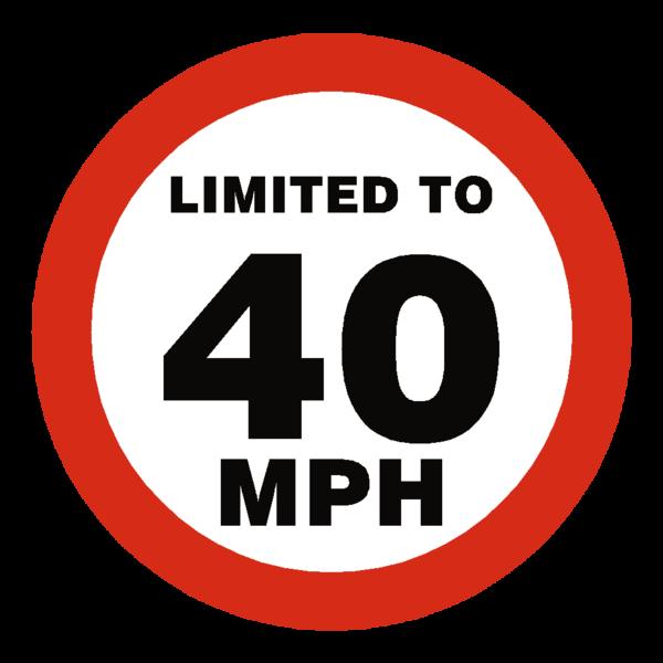 40 Mph Speed Limit Sticker.