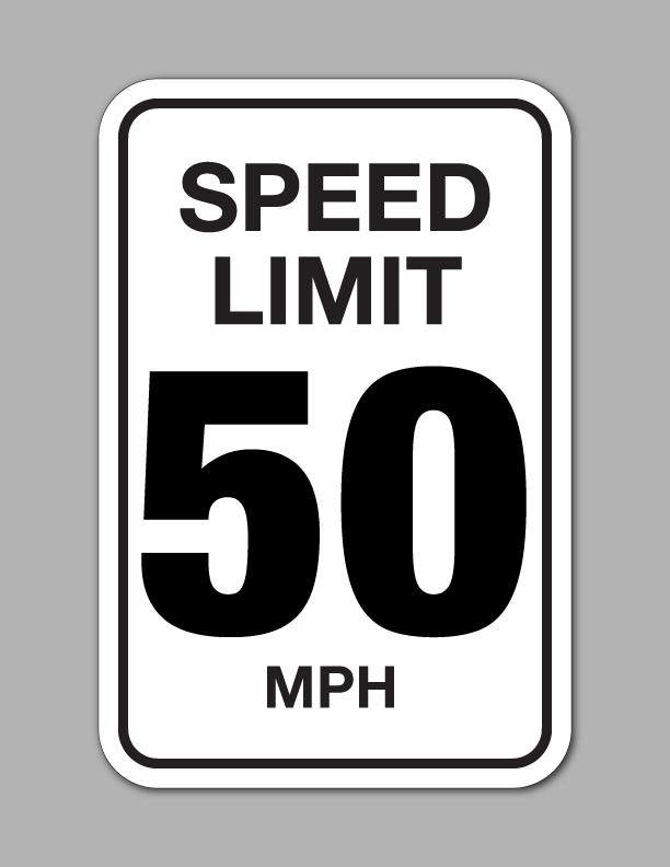 Speed Limit 50 MPH.