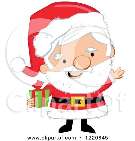 Clipart of a Happy Welcoming Christmas Mr and Mrs Santa.