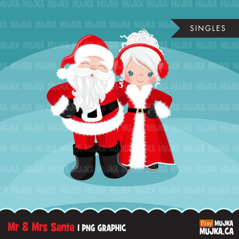 Santa clipart. Mr and Mrs Santa Christmas graphics illustrations, Noel  clipart, Santa's wife, cute Christmas couple, commercial use planner.