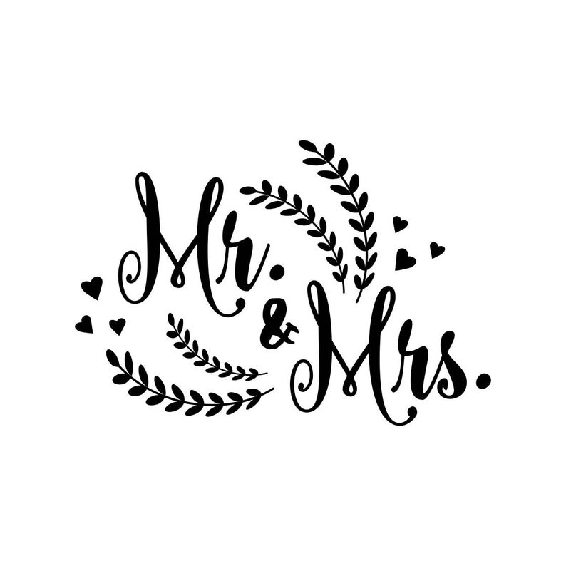 Mr and Mrs Wedding Marriage Graphics SVG Dxf EPS Png Cdr Ai Pdf Vector Art  Clipart instant download Digital Cut Print File Cricut Silhouette.