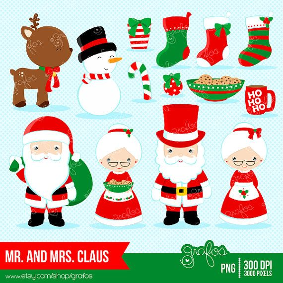 MR. & MRS. CLAUS Clipart Christmas Clipart Santa by grafos.