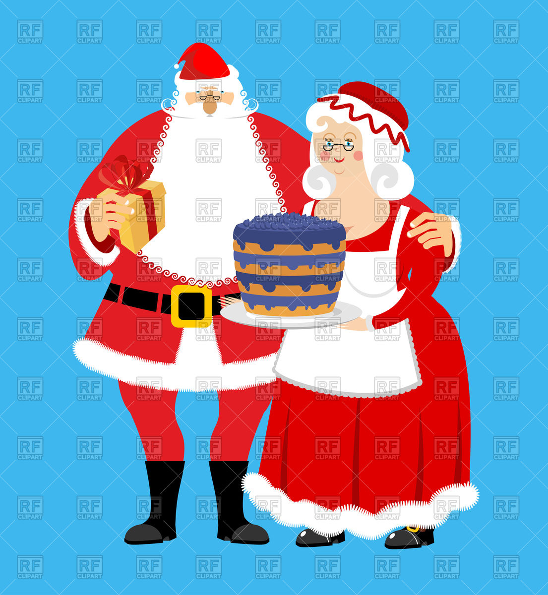 Santa and Mrs. Claus with gifts and bilberry cake, Christmas family Stock  Vector Image.