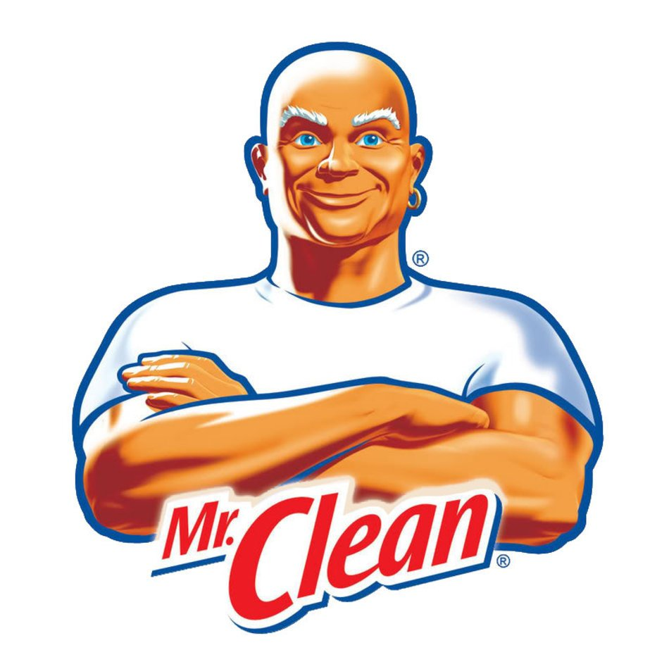 Mr Clean logo on a white background free image.