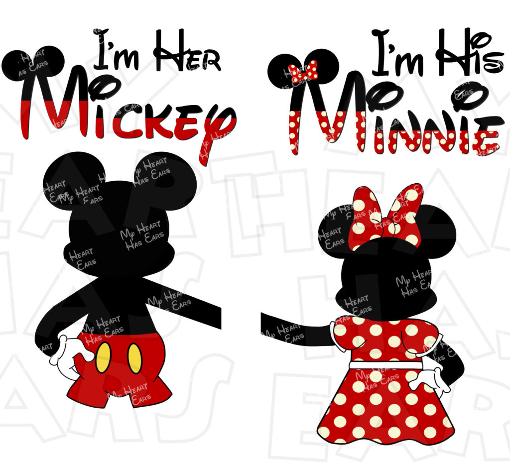Mr. and Mrs. with Mickey Minnie ears INSTANT DOWNLOAD digital clip.