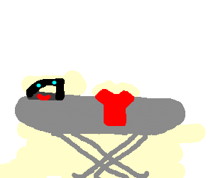 Happy Mr Iron on an ironing board (drawing by Mira2826).