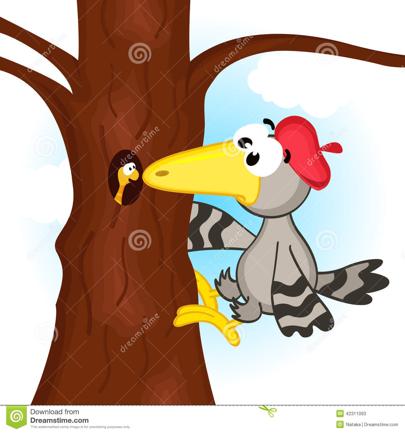 Woodpecker On Tree Stock Vector.