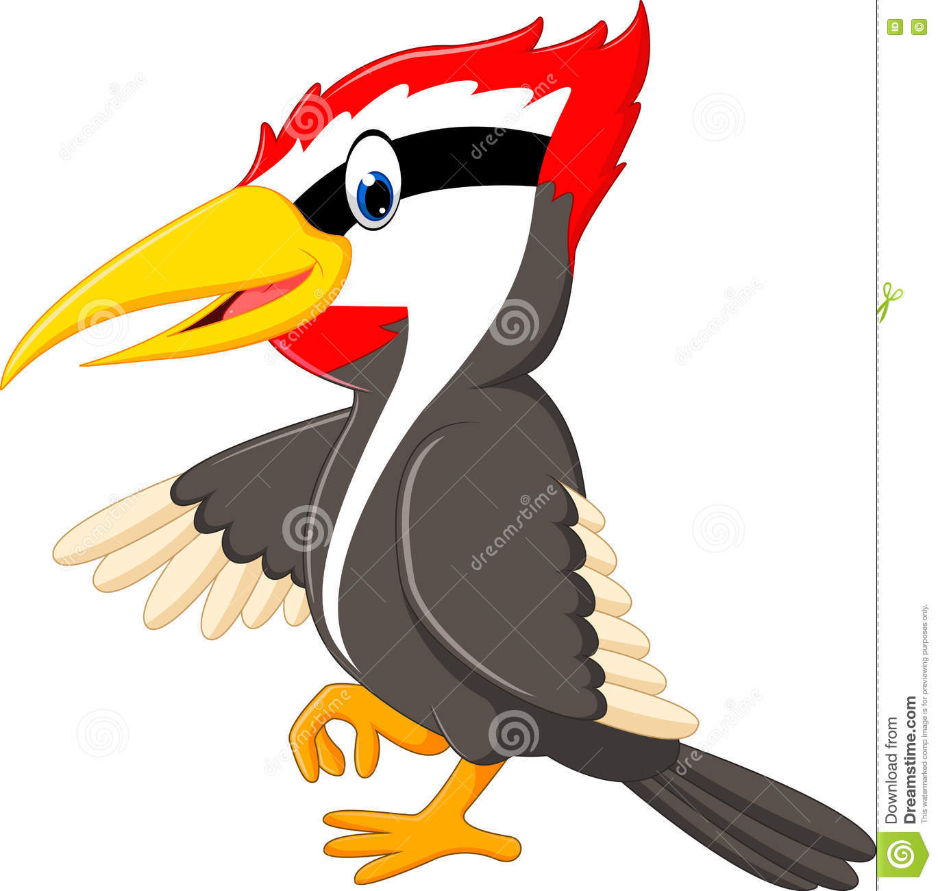 Woodpecker Bird Cartoon Stock Vector.