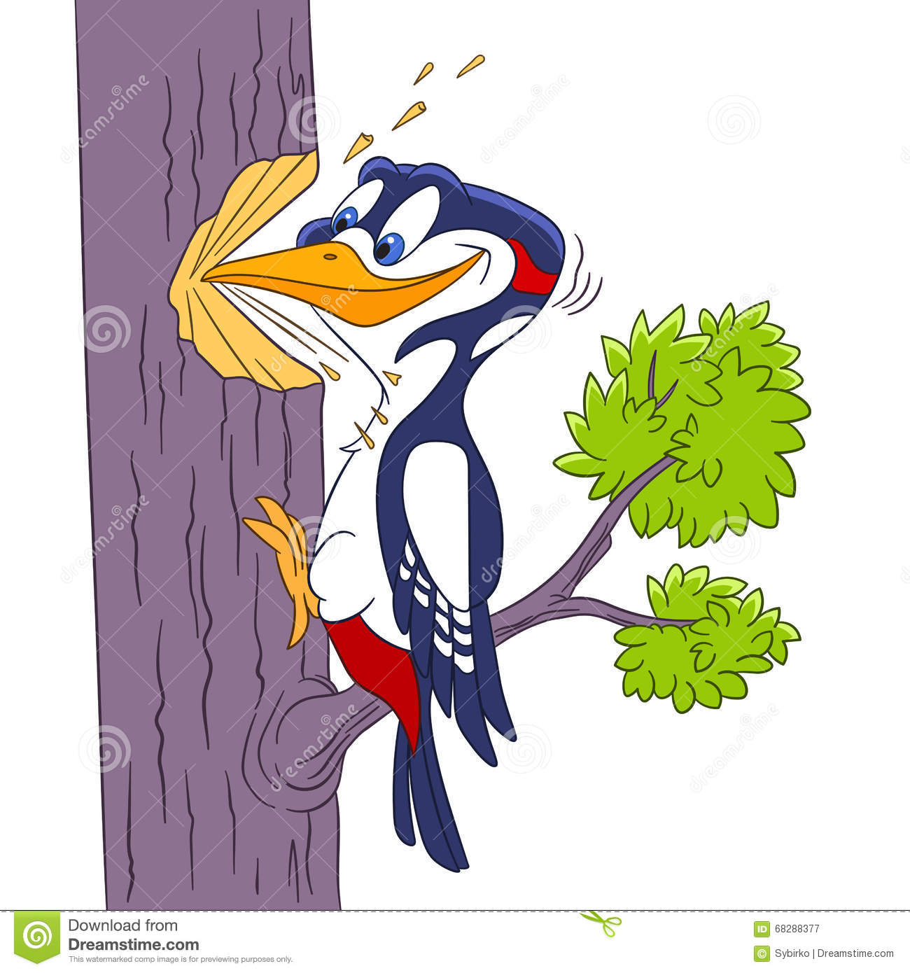 Cute Cartoon Woodpecker Stock Vector.