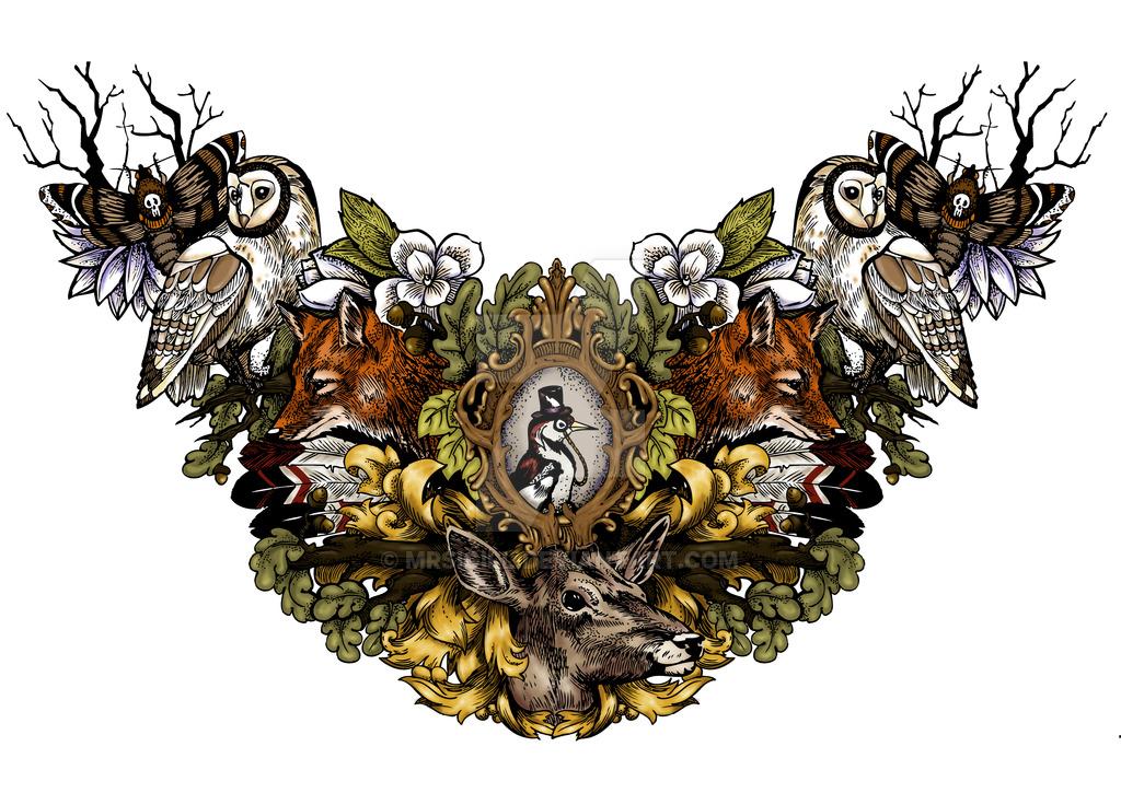 Chest tattoo design with Mr. Woodpecker by MrSigill on DeviantArt.