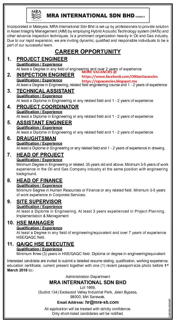 Oil &Gas Vacancies: MRA INTERNATIONAL.