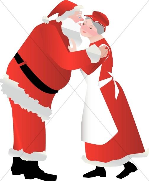 Santa Kissing Mrs. Claus.