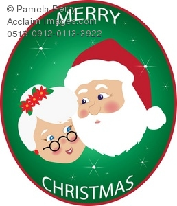 Clip Art Illustration of Mr And Mrs Santa Claus With Sparkling.
