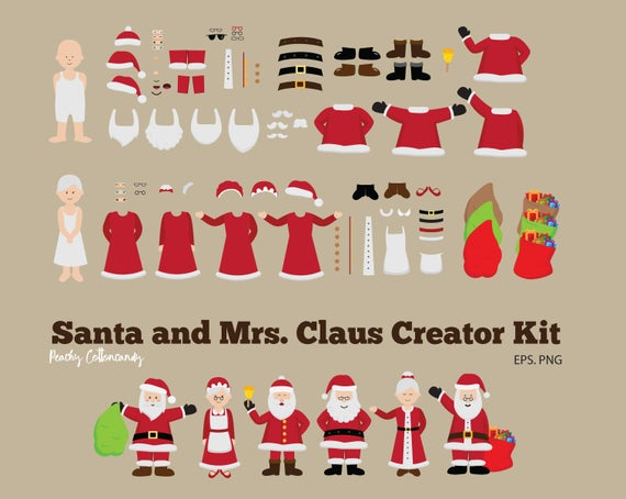 BUY 2 GET 1 FREE Santa Claus & Mrs. Claus Clipart.
