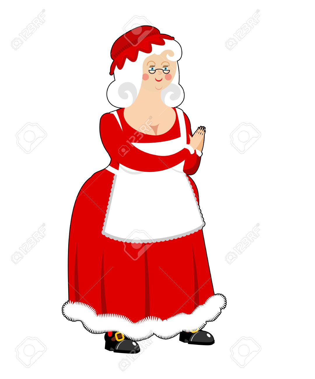 Mrs. Claus isolated. Wife of Santa Claus. Christmas woman in...