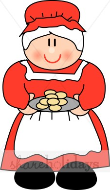 Cartoon Mrs. Claus with Cookies.