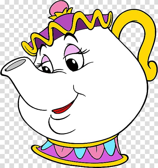 White teapot cartoon, Mrs. Potts Beauty and the Beast Belle.