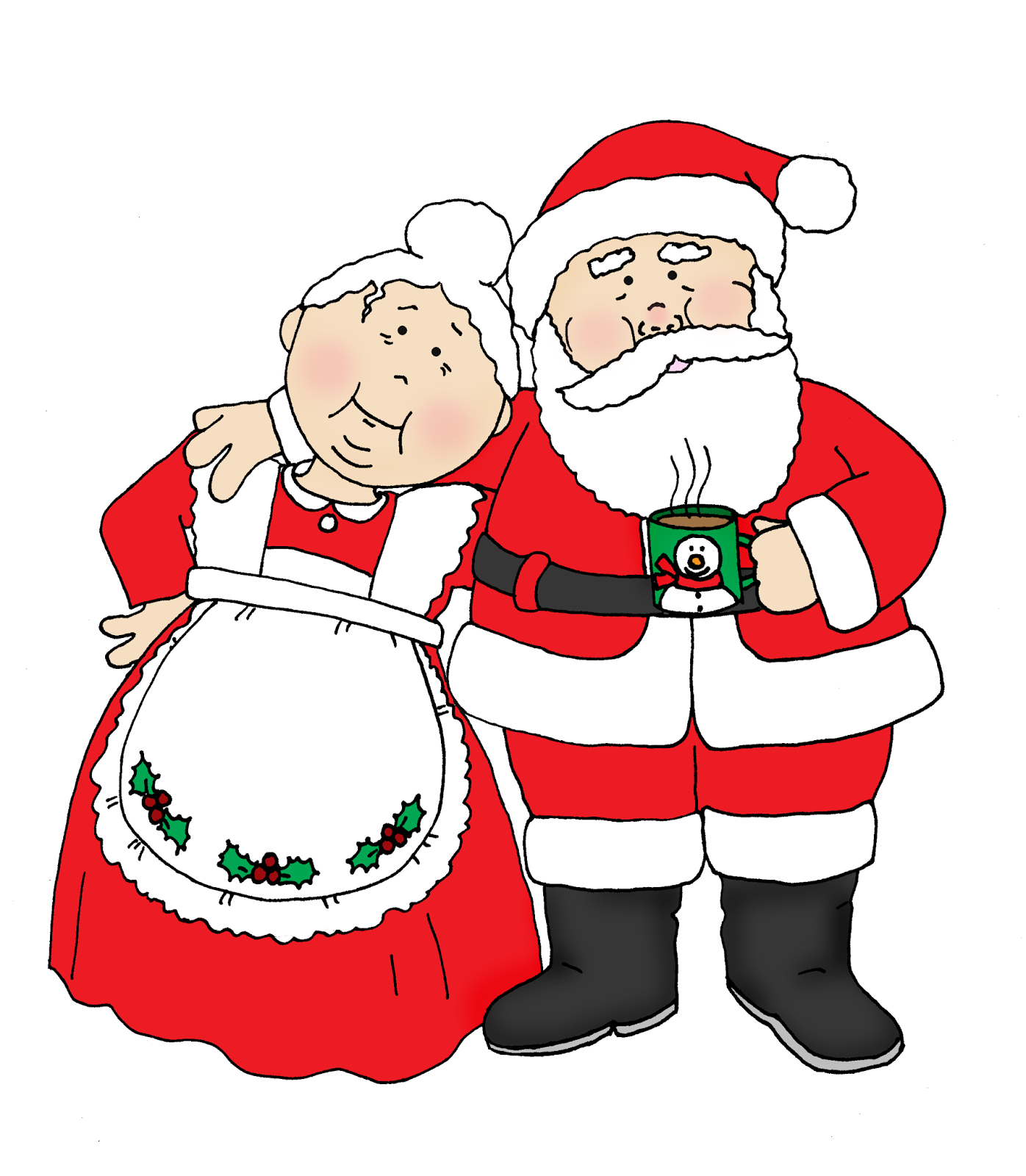 Free Dearie Dolls Digi Stamps: Santa and Mrs. Claus.