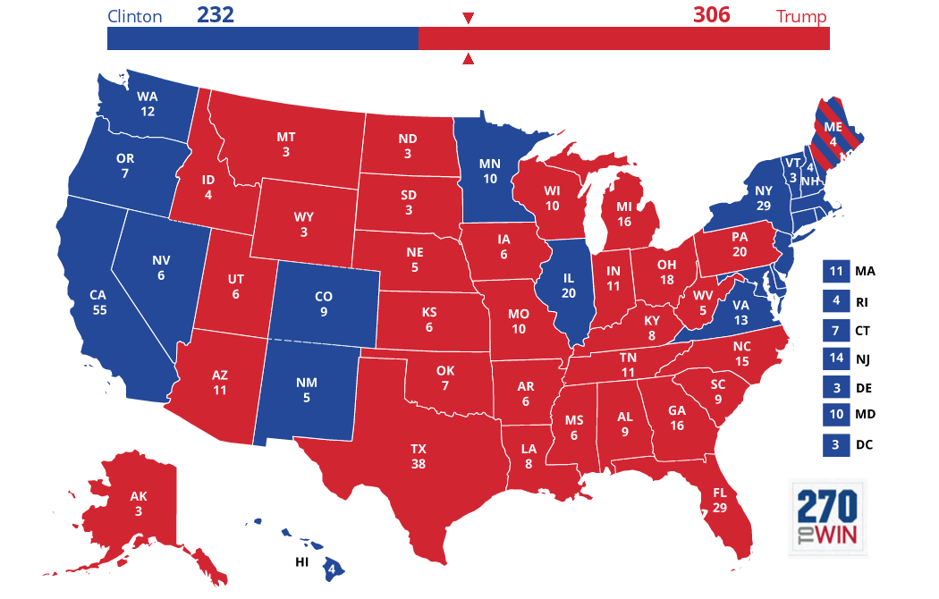 2016 Presidential Election Actual Results.