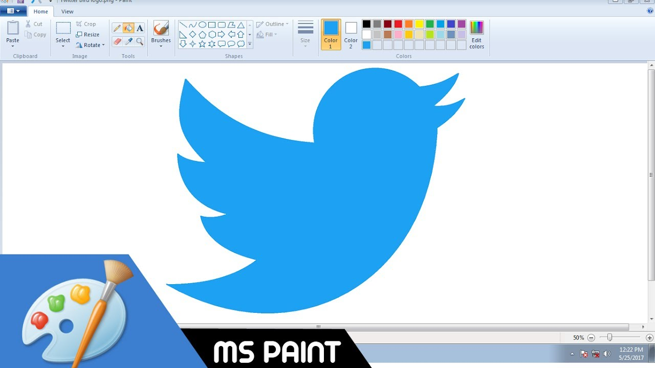How to Draw Twitter Logo in MS Paint from Scratch!.