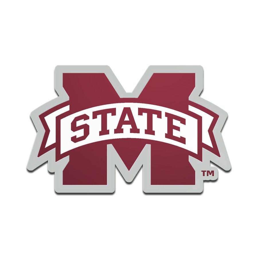 Mississippi State Bulldogs Metallic Freeform Logo Auto Emblem.