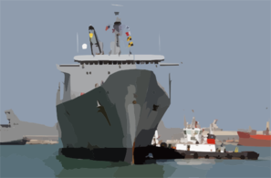 Tugboats Ease The Military Sealift Command (msc) Fast Sealift Ship.